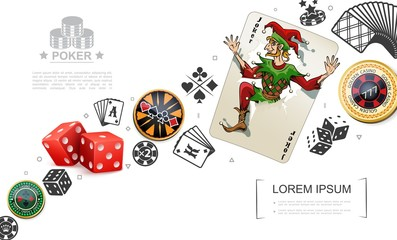Realistic Gambling And Poker Elements Concept Wall mural