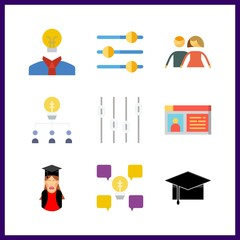 9 successful icon. Vector illustration successful set. teamwork and idea icons for successful works