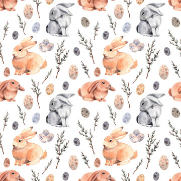 Watercolor pattern with cute Easter bunnies. Happy Easter.