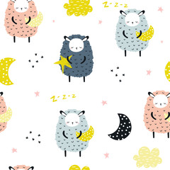 Seamless pattern with sheep and moon. Kids bedtime print. Vector hand drawn illustration.