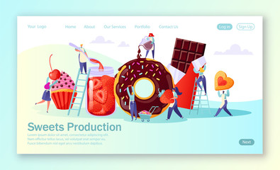 Concept of landing page with sweets food production. Flat people characters making tasty cupcake, chocolate and cookies, handmade organic strawberry jam in a large glass jar, woman pours glaze.