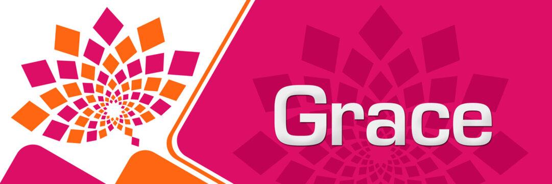 Grace Pink Orange Floral Left Rounded Squares 17322