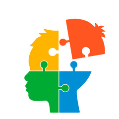 The human head consists of puzzles. concept of intellect, mental ore or mental health. flat vector illustration isolated