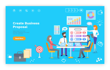Create business proposal template website, teamwork with laptops. Diagram and chart icons, financial project, blue landing page of investment vector