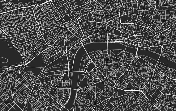 Black and white vector city map of London