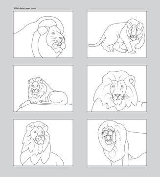Line art six lion figures on ANSI A white mockups