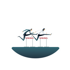 Business competition vector concept with businesswoman and businessman jumping hurdles. Symbol of contest, race, motivation, challenge.