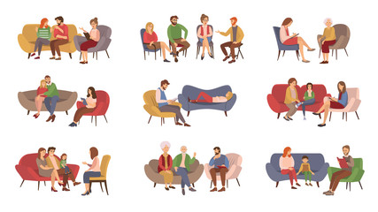 Obraz Psychotherapist services, psychotherapy session vector. Couples and families, kids and teenagers or adults getting psychological help, rehabilitation group - fototapety do salonu