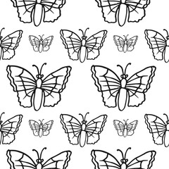 butterfly seamless pattern isolated on white background