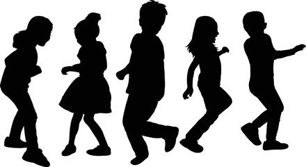 children jumping, dancing, silhouette vector