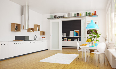 modern scandinavian kitchen room design.