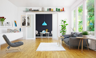 modern scandinavian living room design.
