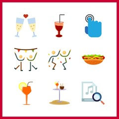 9 club icon. Vector illustration club set. dancing and cocktail icons for club works