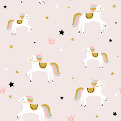 Childish seamless pattern with cute horse. Creative vector childish background for fabric, textile