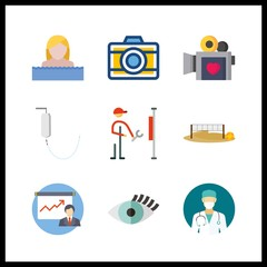9 professional icon. Vector illustration professional set. surgeon and photo camera icons for professional works
