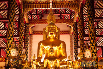 The golden buddha statue at Wat Suan Dok (Royal monastery) in Chiangmai, Thailand.