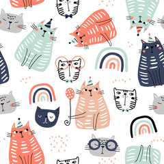 Seamless childish pattern with funny colorful cats and ranbows . Creative scandinavian kids texture for fabric, wrapping, textile, wallpaper, apparel. Vector illustration