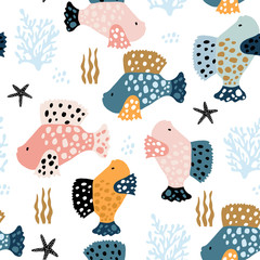 Seamless pattern with creative and colorful fishes . Creative undersea childish texture. Great for fabric, textile Vector Illustration