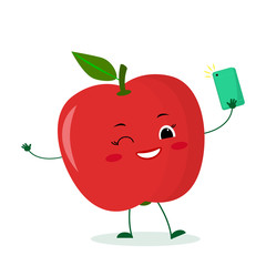 Cute red apple cartoon character with a smartphone and does selfie. Vector illustration, a flat style