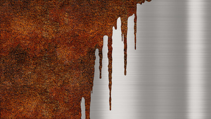 Shiny polished metal background texture with rusty drips of liquid. Brushed metallic steel plate with traces of orange rust streaks. Sheet metal shiny silver Wall mural