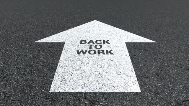 Arrow sign on asphalt back to work