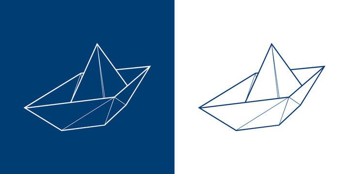 Icono plano lineal barco de papel en azul y blanco