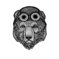 Cute animal wearing motorcycle, aviator helmet Brown bear Russian bear Hand drawn image for tattoo, t-shirt, emblem, badge, logo, patch