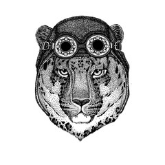 Cute animal wearing motorcycle, aviator helmet Wild cat Leopard Cat-o'-mountain Panther Hand drawn picture for tattoo, emblem, badge, logo, patch, t-shirt