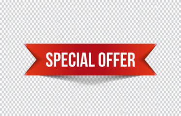Red special offer banner with shadow on transparent background. Can be used with any background. Vector illustration.