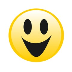 Vector drawing yellow smiley, emoticon, emoticon, smile and happiness.