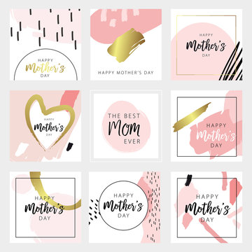 Happy mother's day greeting card template set