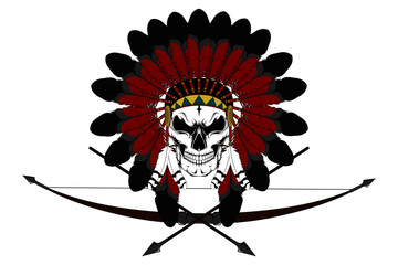 Indian skull in a crown of feathers and a bow for shooting and arrows.
