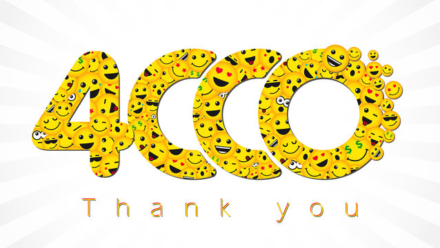 Thank you 4 000 followers logotype. Congratulating bright 4.000 networking thanks, net friends yellow symbol, 4000k sign with people faces. Isolated smiling numbers. Abstract graphic design template.