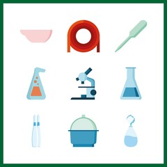 9 scientific icon. Vector illustration scientific set. microscope and evaporation dish icons for scientific works