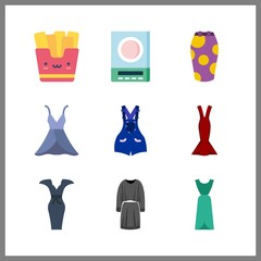 9 long icon. Vector illustration long set. skirt and dress icons for long works
