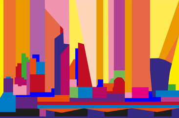 Colorful abstract skyline of London, Europe, in geometric figures.
