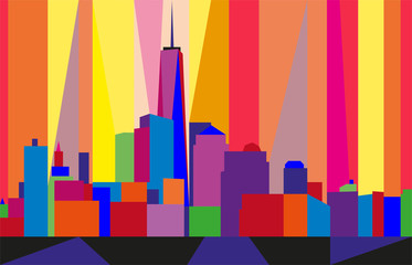 Colorful abstract skyline of Manhattan, New York City, United States. Geometric figures.