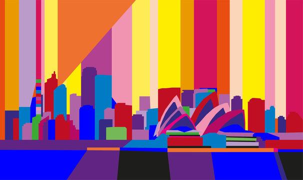 Colorful abstract geometric skyline of Sidney, Australia.