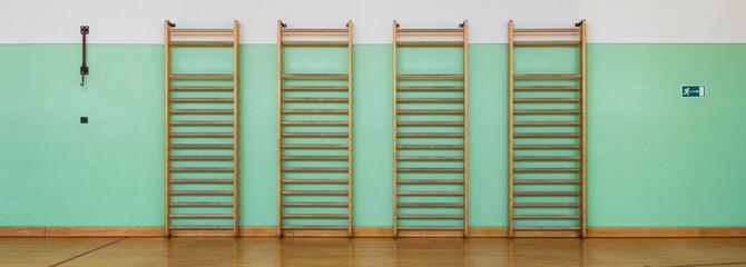 Panorama of gymnastics wall bars, green wall