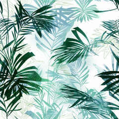 imprints palm leaves mix repeat seamless pattern. digital hand drawn picture with watercolour texture. mixed media