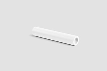 White Paper Tube Mock up isolated on light gray background. 3D rendering.