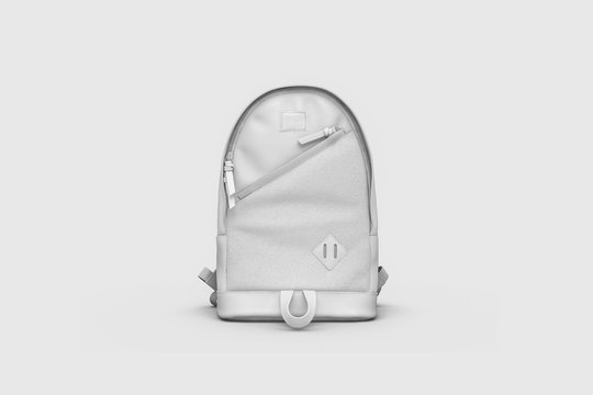 White Backpack Mock up isolated on soft gray background. 3D rendering.