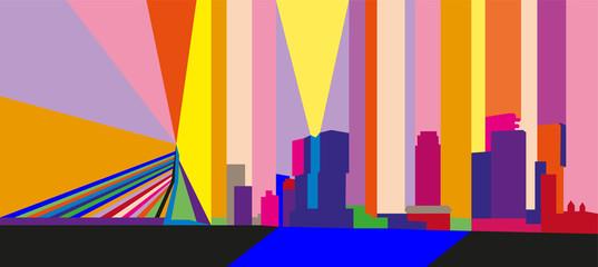 Photo sur Aluminium Rotterdam Colorful abstract geometric skyline of Rotterdam, The Netherlands.