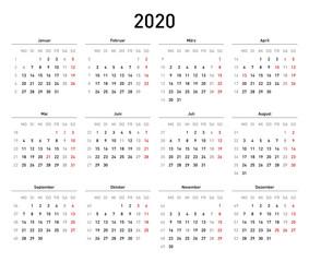 Kalendervorlage 2020, einfach, Querformat, Feiertage Deutschland