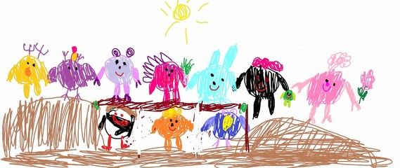 Children drawing, The child drew different animals and fictional characters. Made by a small child.