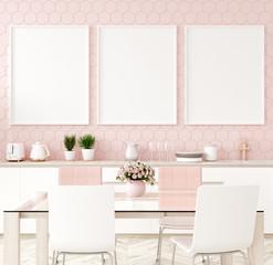 Mock up poster frame in pastel pink kitchen interior, 3d render