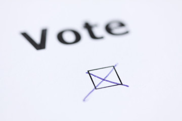 The word Vote - with mark in check box with pen - word blurred