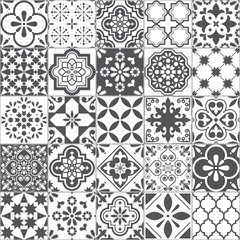 Lisbon geometric Azulejo tile vector pattern, Portuguese or Spanish retro old tiles mosaic, Mediterranean seamless gray and white design