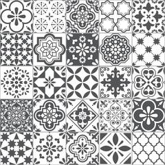 Obraz Lisbon geometric Azulejo tile vector pattern, Portuguese or Spanish retro old tiles mosaic, Mediterranean seamless gray and white design  - fototapety do salonu