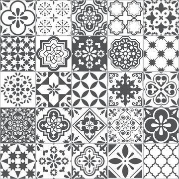 Lisbon geometric Azulejo tile vector pattern, Portuguese or Spanish retro old tiles mosaic, Mediterranean seamless gray and white design